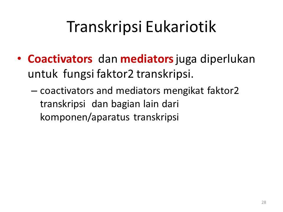 28 Transkripsi Eukariotik Coactivators dan mediators juga diperlukan untuk fungsi faktor2 transkripsi. – coactivators and mediators mengikat faktor2 t