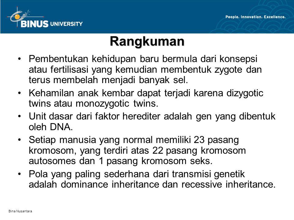 Bina Nusantara Rangkuman Pembentukan kehidupan baru bermula dari konsepsi atau fertilisasi yang kemudian membentuk zygote dan terus membelah menjadi banyak sel.