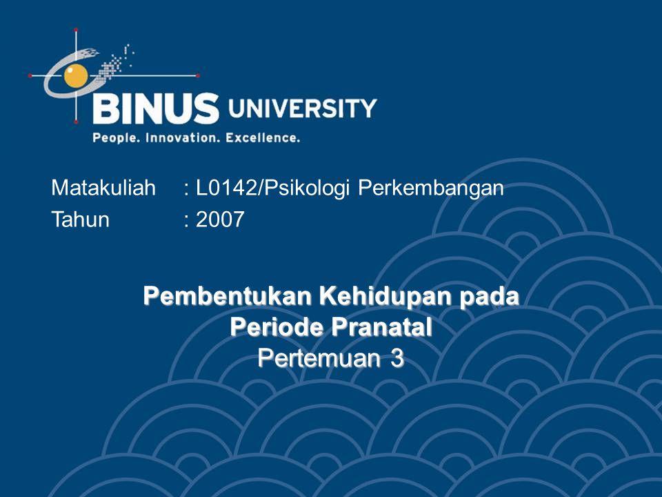 Bina Nusantara Mahasiswa dapat memahami bagaimana terjadinya pembentukan kehidupan yang baru pada manusia Mahasiswa dapat memahami pengaruh lingkungan atau herediter terhadap perkembangan manusia Mahasiswa dapat menyebutkan tahapan perkembangan pranatal Tujuan Pembelajaran 3