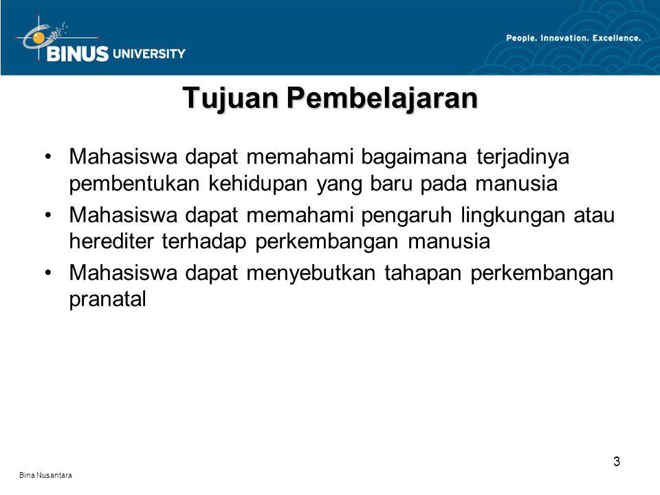 Bina Nusantara Terjadinya pembentukan kehidupan yang baru Mekanisme herediter Pengaruh lingkungan atau herediter Tahapan perkembangan pranatal Materi Pembelajaran 4