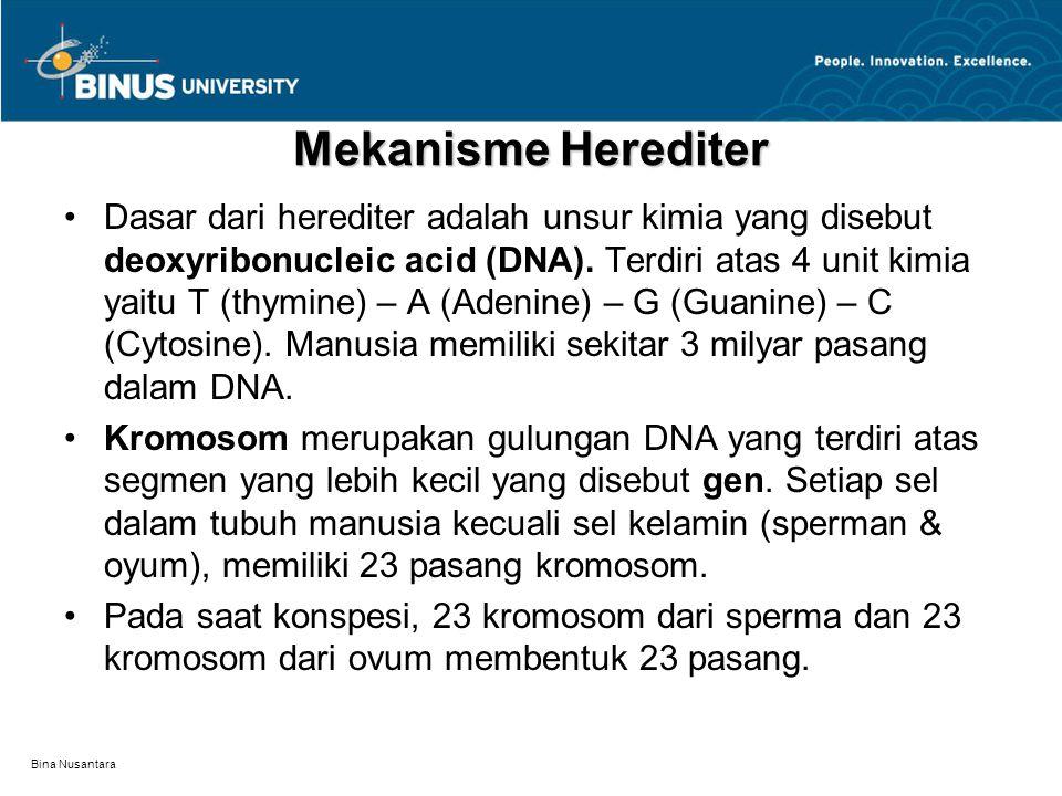 Bina Nusantara Mekanisme Herediter Dasar dari herediter adalah unsur kimia yang disebut deoxyribonucleic acid (DNA). Terdiri atas 4 unit kimia yaitu T