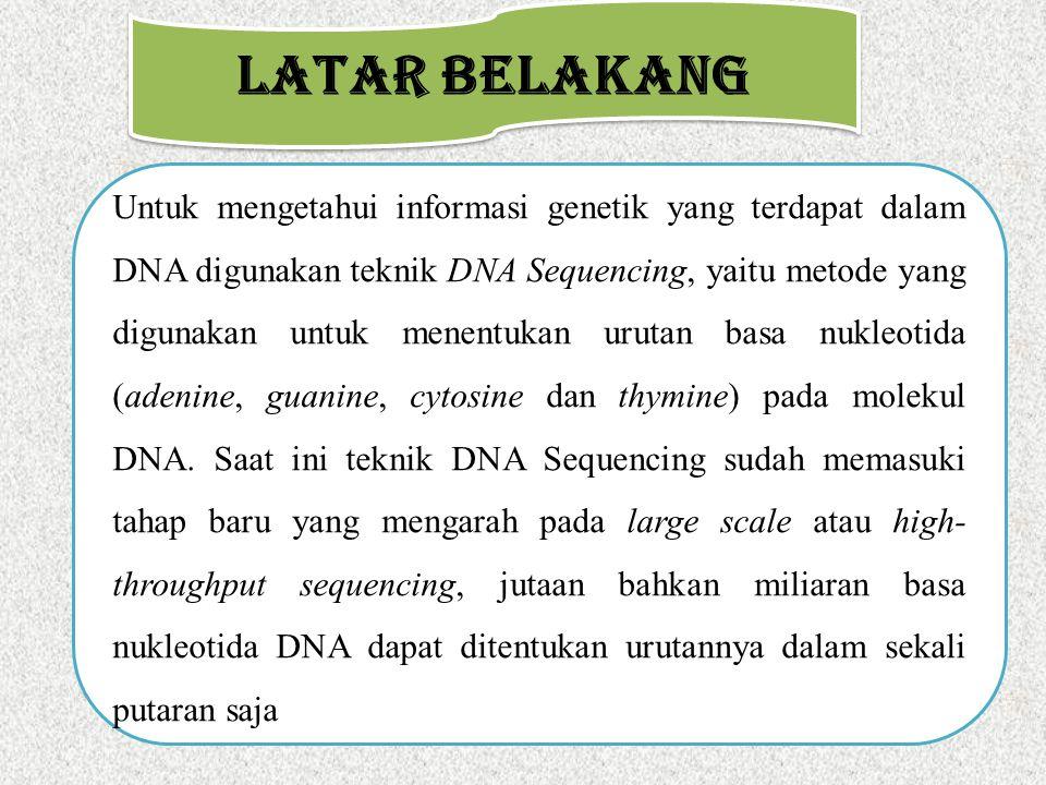 LATAR BELAKANG Untuk mengetahui informasi genetik yang terdapat dalam DNA digunakan teknik DNA Sequencing, yaitu metode yang digunakan untuk menentuka