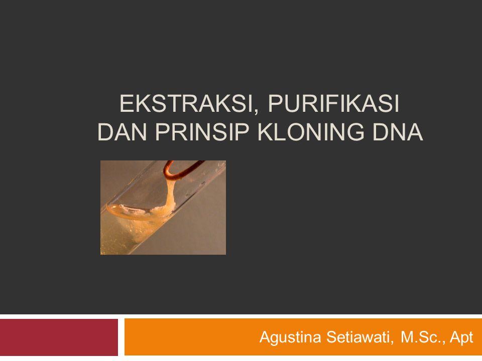 EKSTRAKSI, PURIFIKASI DAN PRINSIP KLONING DNA Agustina Setiawati, M.Sc., Apt
