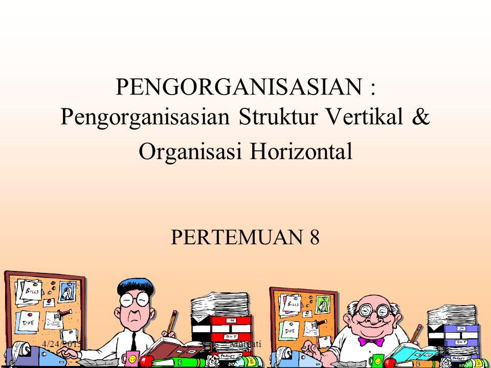 4/24/2015Mulyati2 Struktur Organisasi (Organization Structure) Struktur Organisasi Sekumpulan tugas formal yang dimandatkan pada individu dan departemen.