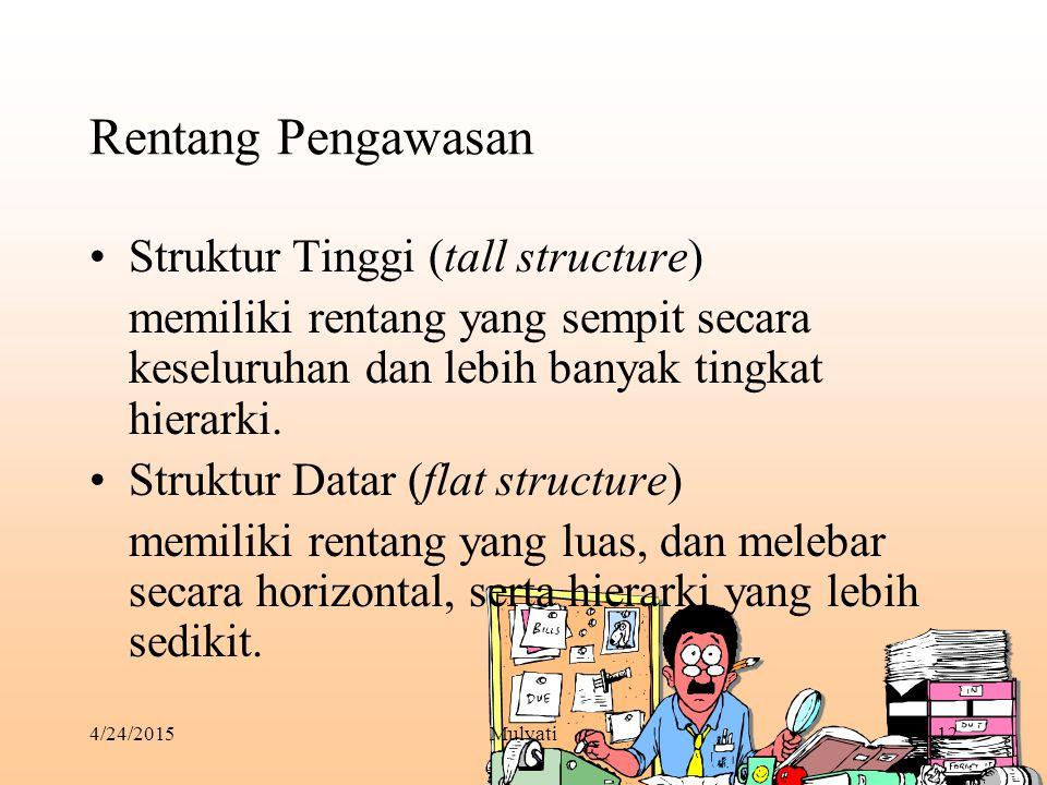 4/24/2015Mulyati12 Rentang Pengawasan Struktur Tinggi (tall structure) memiliki rentang yang sempit secara keseluruhan dan lebih banyak tingkat hierar