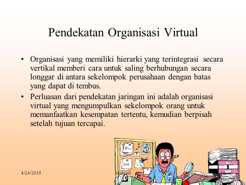 4/24/2015Mulyati30 Pendekatan Organisasi Virtual Organisasi yang memiliki hierarki yang terintegrasi secara vertikal memberi cara untuk saling berhubu