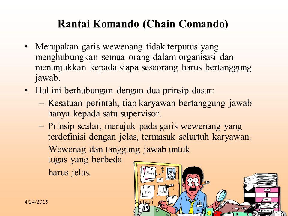 4/24/2015Mulyati5 Rantai Komando (Chain Comando) Merupakan garis wewenang tidak terputus yang menghubungkan semua orang dalam organisasi dan menunjukk