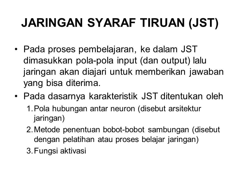 JARINGAN SYARAF TIRUAN (JST) Pada proses pembelajaran, ke dalam JST dimasukkan pola-pola input (dan output) lalu jaringan akan diajari untuk memberika