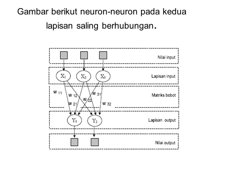 Gambar berikut neuron-neuron pada kedua lapisan saling berhubungan.