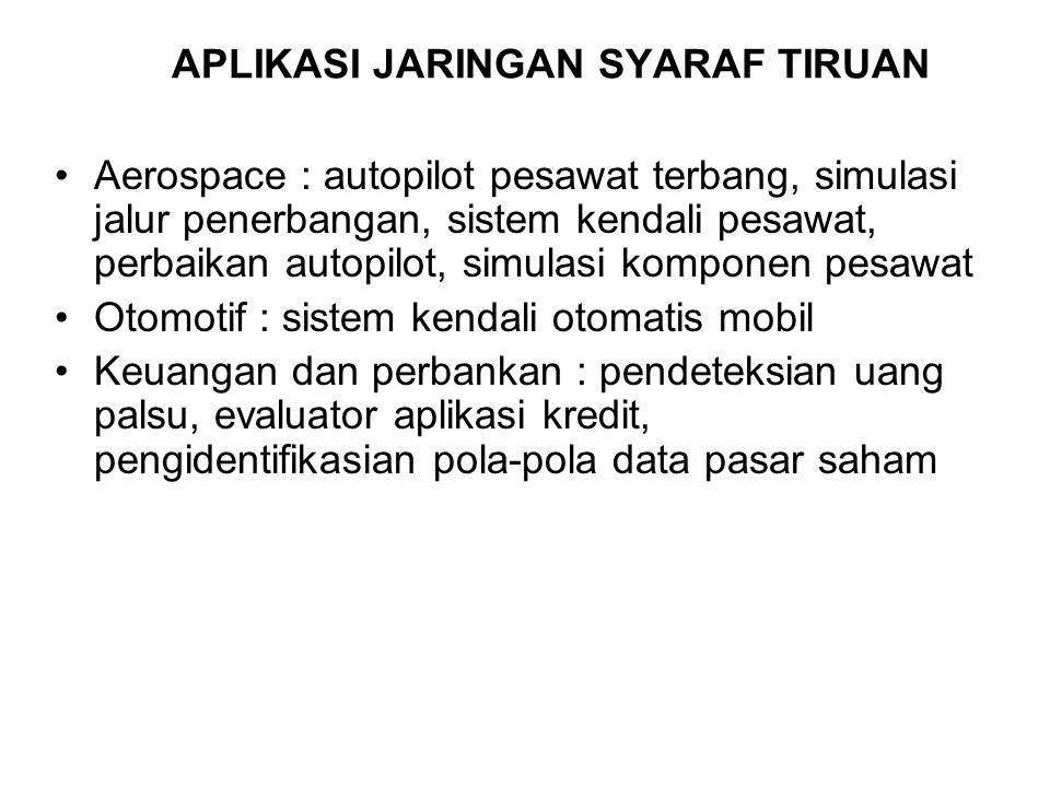 APLIKASI JARINGAN SYARAF TIRUAN Aerospace : autopilot pesawat terbang, simulasi jalur penerbangan, sistem kendali pesawat, perbaikan autopilot, simula