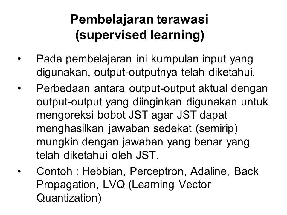 Pembelajaran terawasi (supervised learning) Pada pembelajaran ini kumpulan input yang digunakan, output-outputnya telah diketahui. Perbedaan antara ou