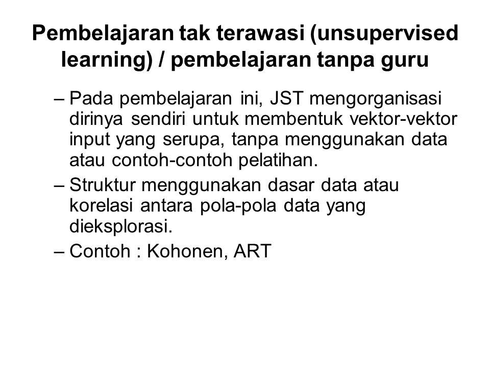 Pembelajaran tak terawasi (unsupervised learning) / pembelajaran tanpa guru –Pada pembelajaran ini, JST mengorganisasi dirinya sendiri untuk membentuk