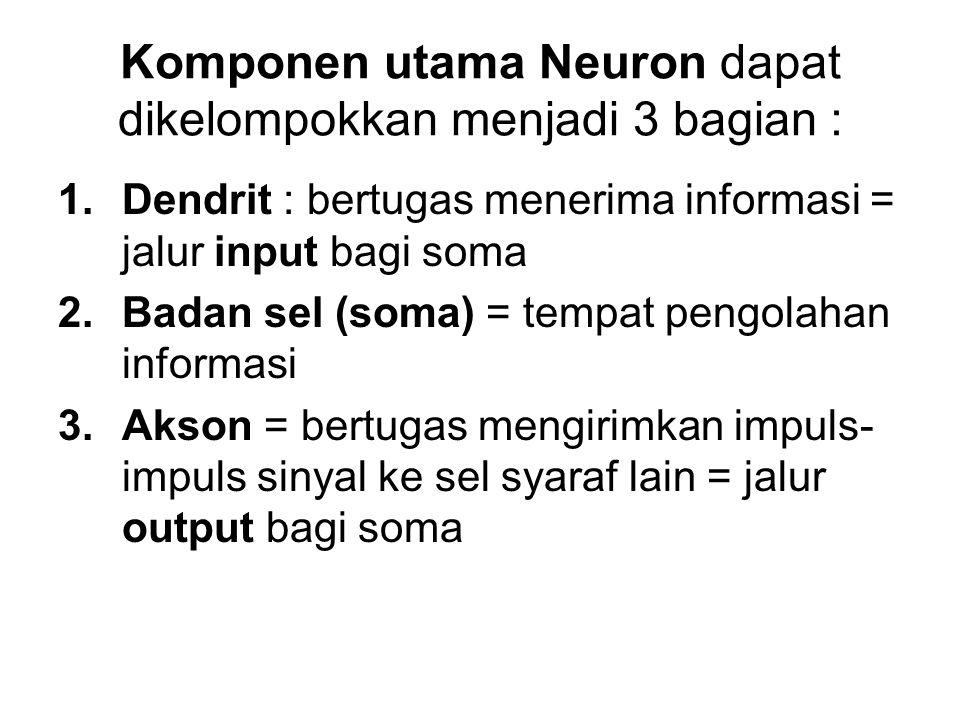 Komponen utama Neuron dapat dikelompokkan menjadi 3 bagian : 1.Dendrit : bertugas menerima informasi = jalur input bagi soma 2.Badan sel (soma) = temp