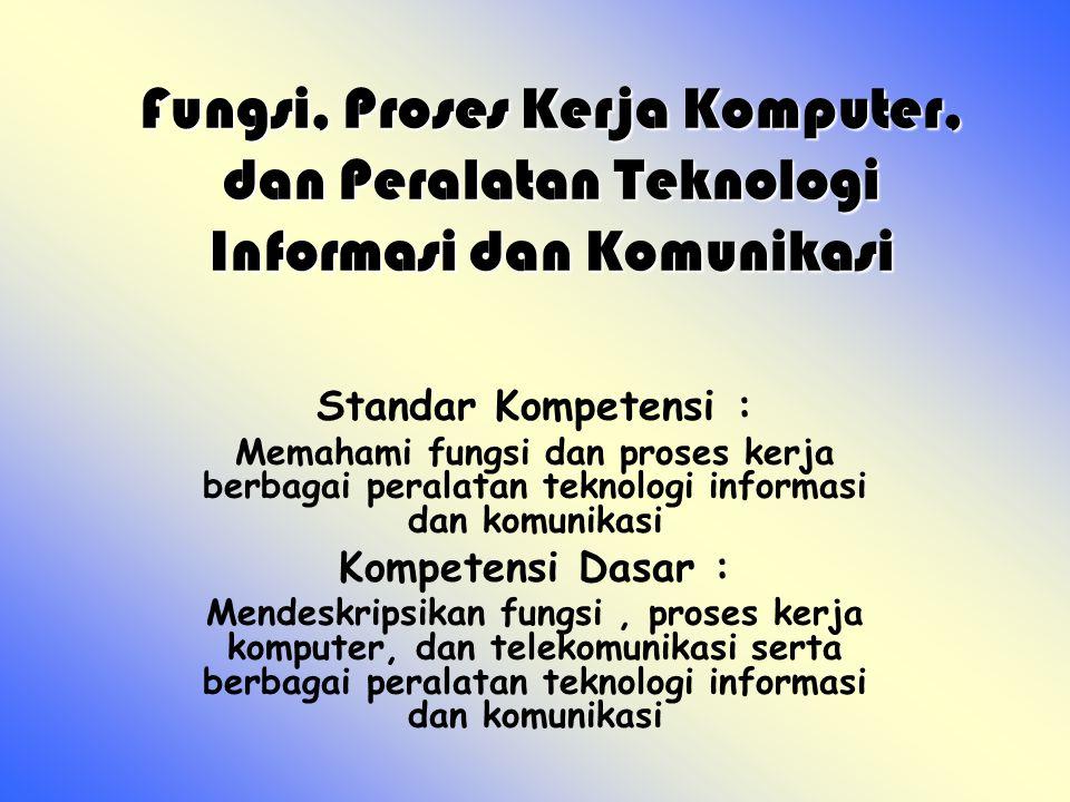 Perangkat Keras Komputer Tujuan Pembelajaran Melalui pencarian informasi tentang alat- alat telekomunikasi, siswa dapat : 1.Mengidentifikasi alat-alat telekomunikasi.