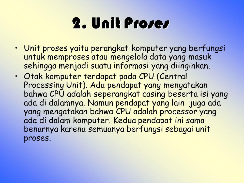 2. Unit Proses 2. Unit Proses Unit proses yaitu perangkat komputer yang berfungsi untuk memproses atau mengelola data yang masuk sehingga menjadi suat