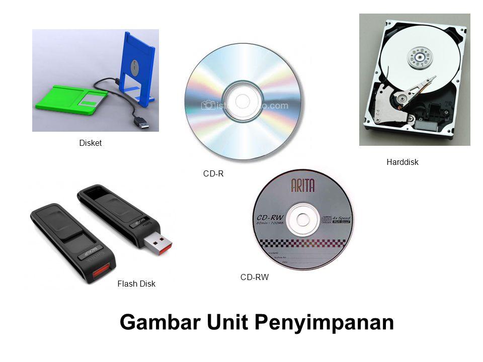 Gambar Unit Penyimpanan CD-R Harddisk CD-RW Disket Flash Disk