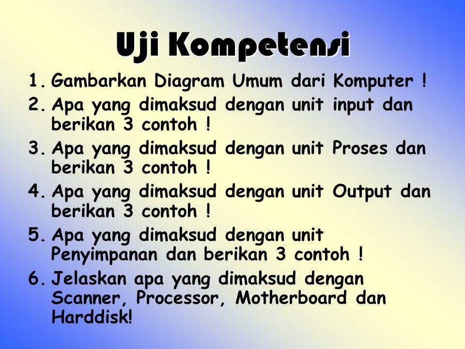 Uji Kompetensi 1.Gambarkan Diagram Umum dari Komputer ! 2.Apa yang dimaksud dengan unit input dan berikan 3 contoh ! 3.Apa yang dimaksud dengan unit P