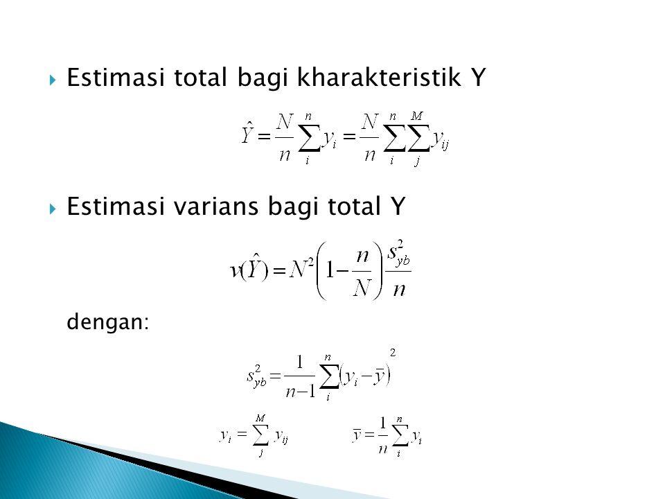  Estimasi total bagi kharakteristik Y  Estimasi varians bagi total Y dengan: