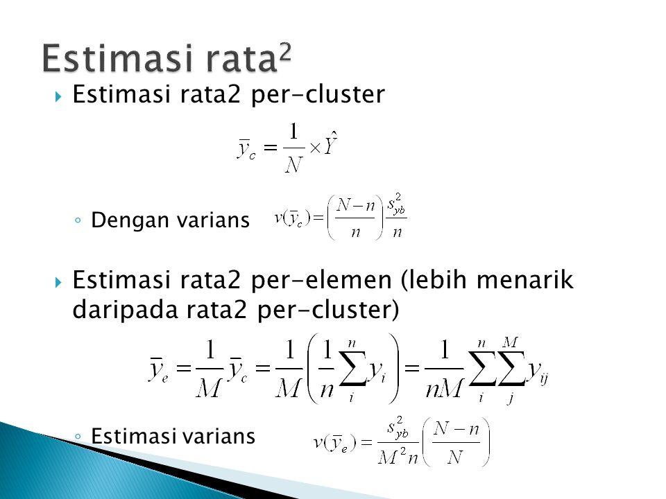  Estimasi rata2 per-cluster ◦ Dengan varians  Estimasi rata2 per-elemen (lebih menarik daripada rata2 per-cluster) ◦ Estimasi varians