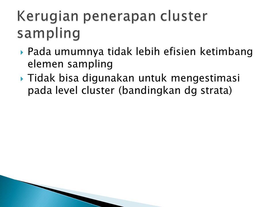  Pada umumnya tidak lebih efisien ketimbang elemen sampling  Tidak bisa digunakan untuk mengestimasi pada level cluster (bandingkan dg strata)