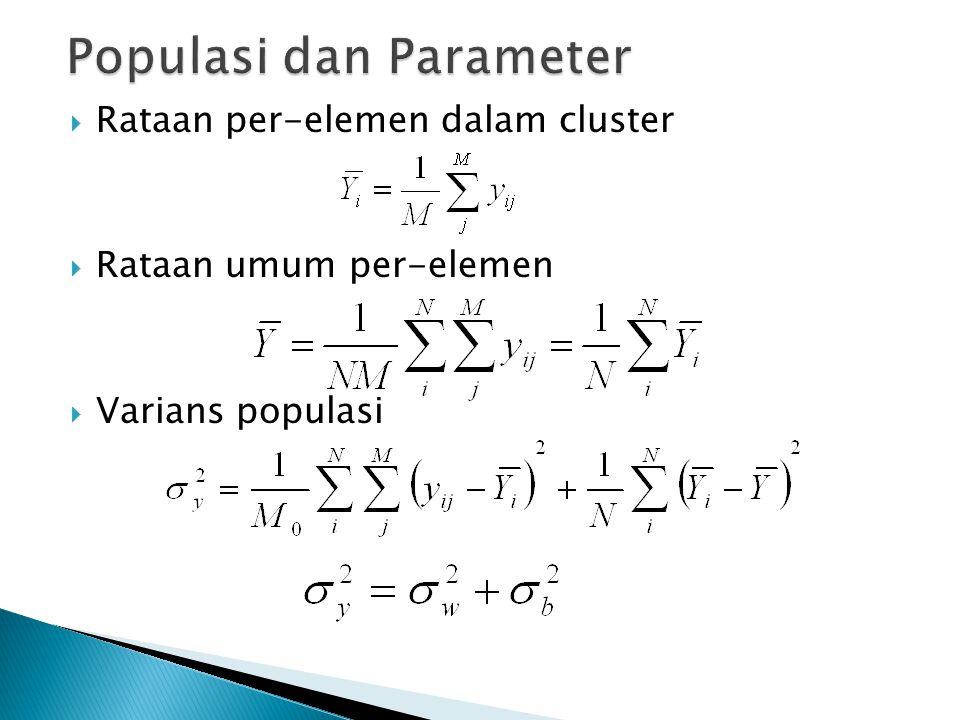  Rataan per-elemen dalam cluster  Rataan umum per-elemen  Varians populasi