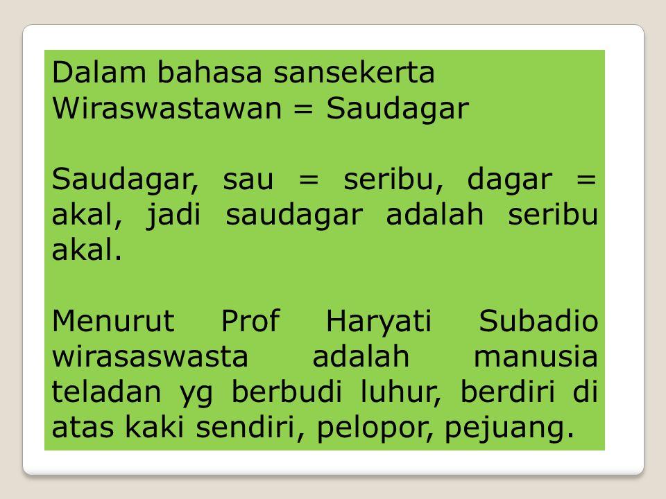 Dalam bahasa sansekerta Wiraswastawan = Saudagar Saudagar, sau = seribu, dagar = akal, jadi saudagar adalah seribu akal.