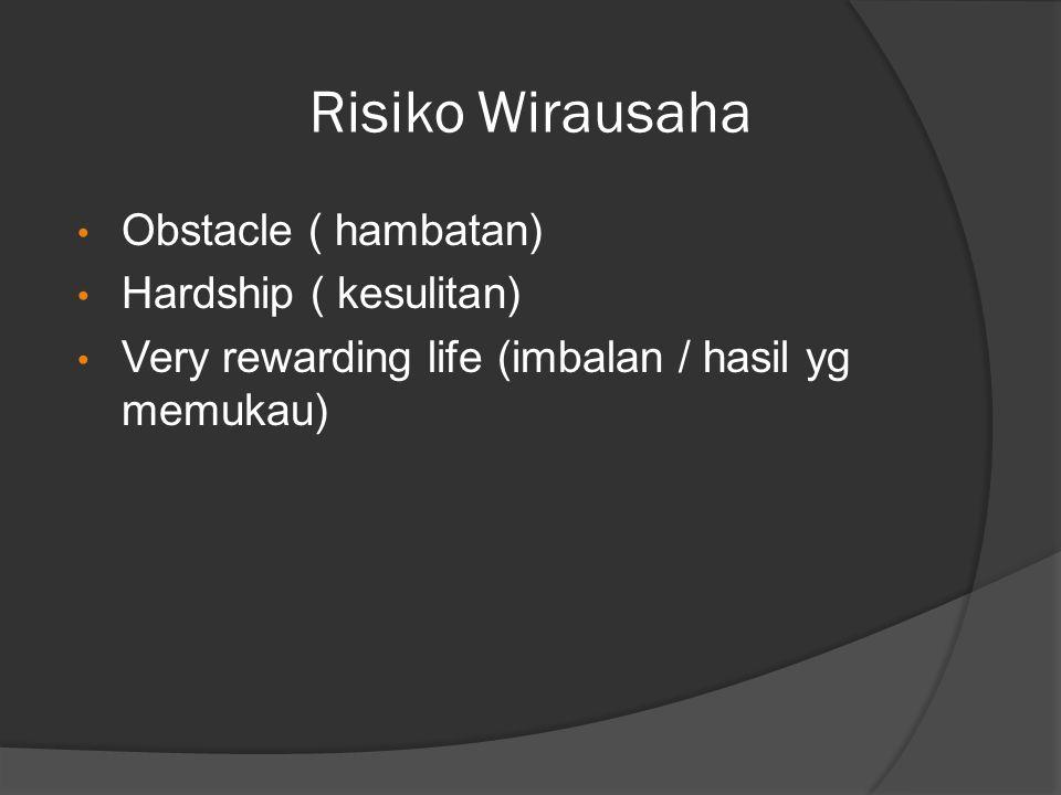 Risiko Wirausaha Obstacle ( hambatan) Hardship ( kesulitan) Very rewarding life (imbalan / hasil yg memukau)