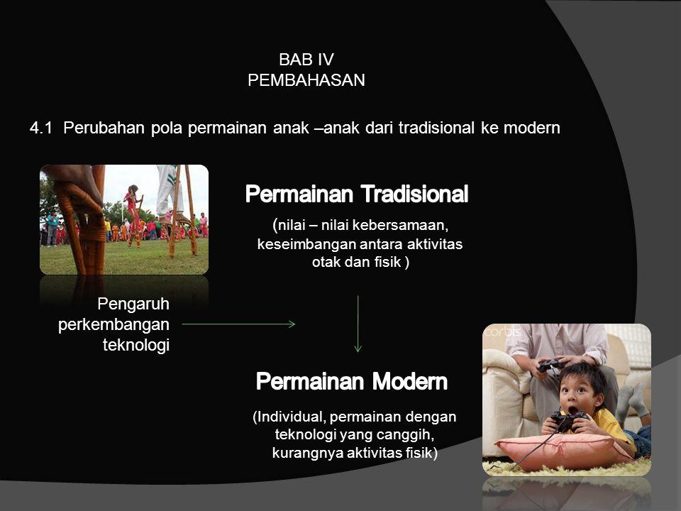 BAB IV PEMBAHASAN 4.1 Perubahan pola permainan anak –anak dari tradisional ke modern Pengaruh perkembangan teknologi ( nilai – nilai kebersamaan, kese