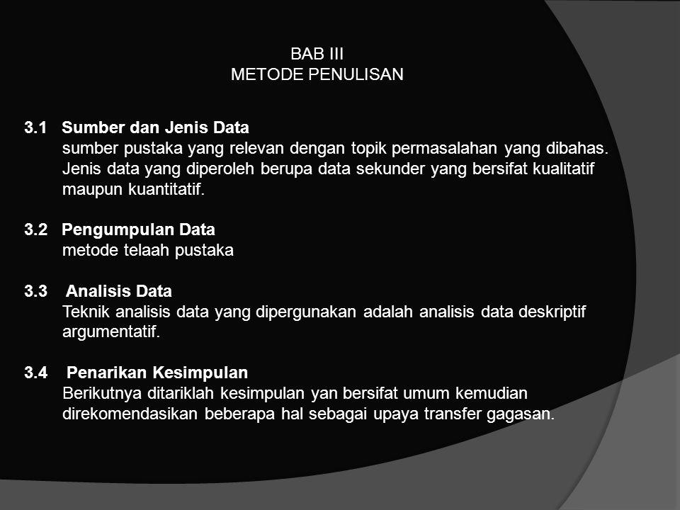 BAB III METODE PENULISAN 3.1 Sumber dan Jenis Data sumber pustaka yang relevan dengan topik permasalahan yang dibahas. Jenis data yang diperoleh berup