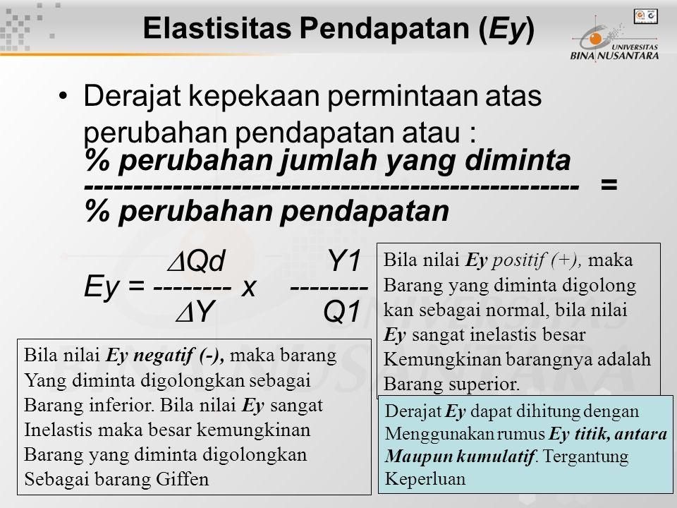 16 Elastisitas Pendapatan (Ey) Derajat kepekaan permintaan atas perubahan pendapatan atau : % perubahan jumlah yang diminta --------------------------