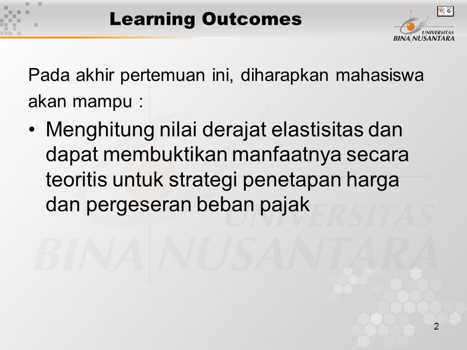 2 Learning Outcomes Pada akhir pertemuan ini, diharapkan mahasiswa akan mampu : Menghitung nilai derajat elastisitas dan dapat membuktikan manfaatnya