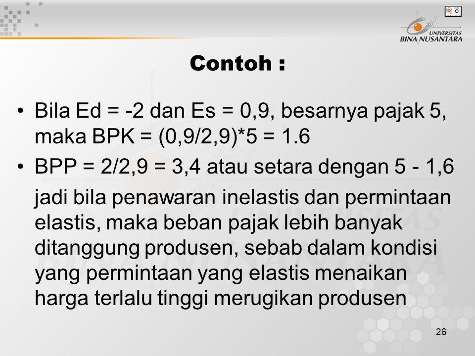 26 Contoh : Bila Ed = -2 dan Es = 0,9, besarnya pajak 5, maka BPK = (0,9/2,9)*5 = 1.6 BPP = 2/2,9 = 3,4 atau setara dengan 5 - 1,6 jadi bila penawaran