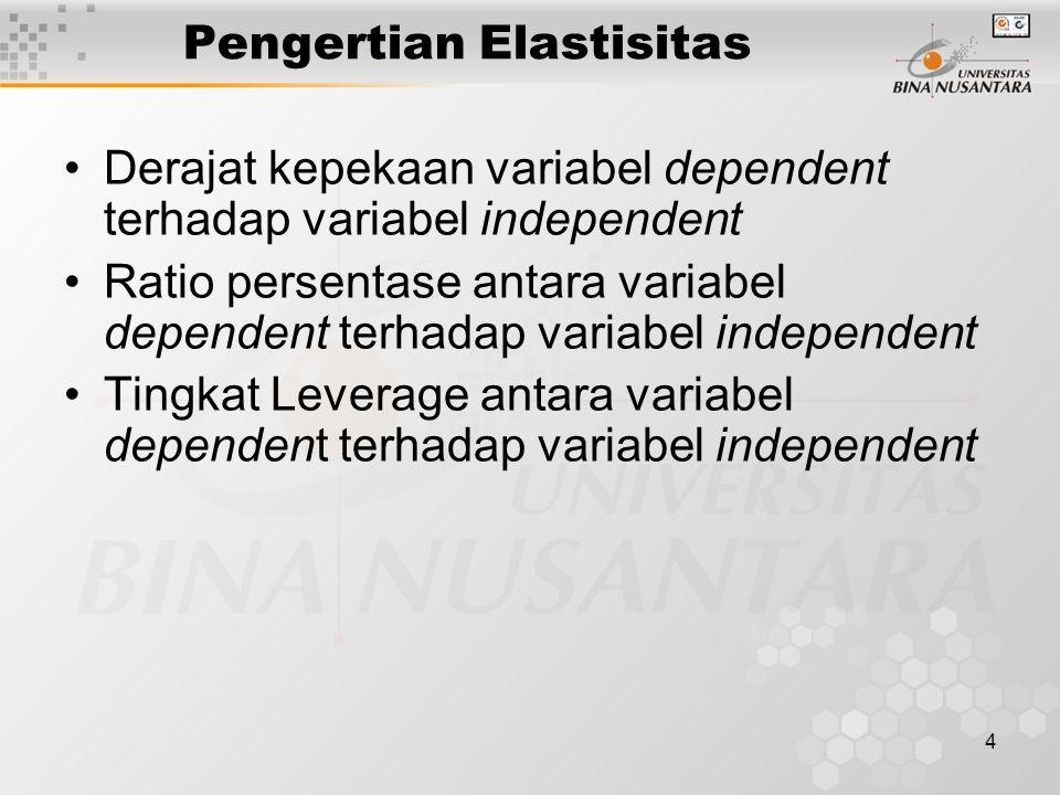 4 Pengertian Elastisitas Derajat kepekaan variabel dependent terhadap variabel independent Ratio persentase antara variabel dependent terhadap variabe