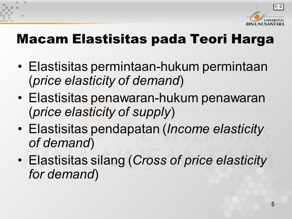 5 Macam Elastisitas pada Teori Harga Elastisitas permintaan-hukum permintaan (price elasticity of demand) Elastisitas penawaran-hukum penawaran (price