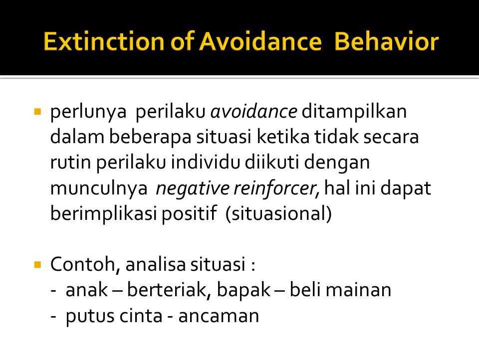  perlunya perilaku avoidance ditampilkan dalam beberapa situasi ketika tidak secara rutin perilaku individu diikuti dengan munculnya negative reinforcer, hal ini dapat berimplikasi positif (situasional)  Contoh, analisa situasi : - anak – berteriak, bapak – beli mainan - putus cinta - ancaman