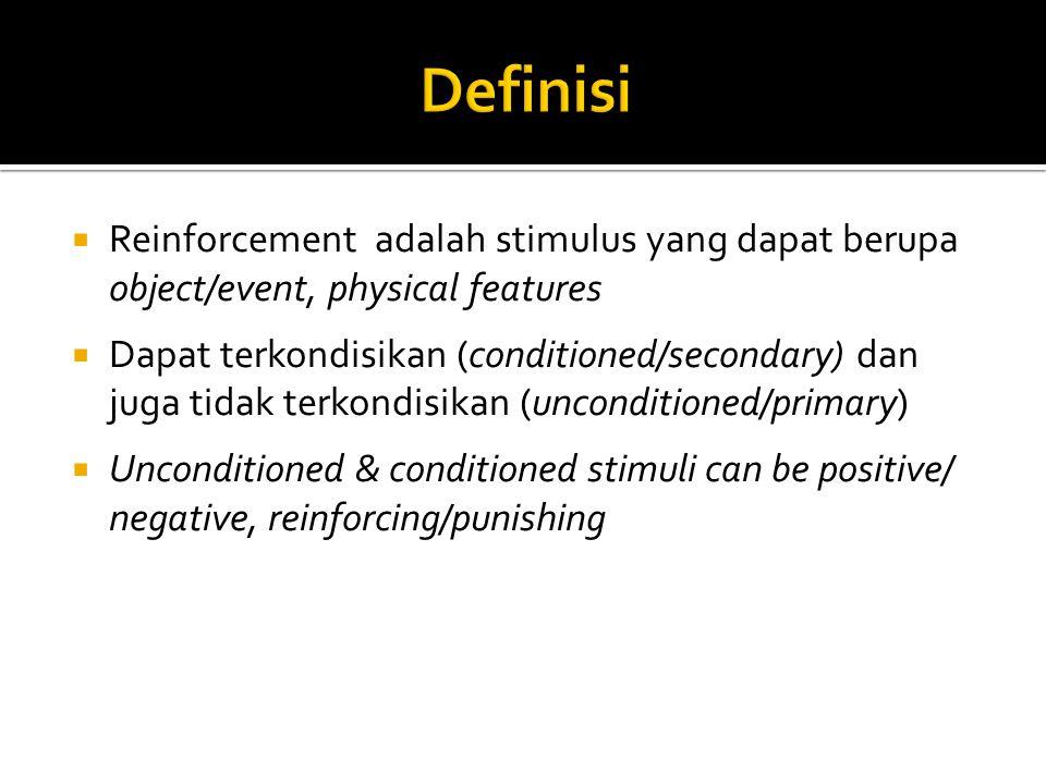  Reinforcement adalah stimulus yang dapat berupa object/event, physical features  Dapat terkondisikan (conditioned/secondary) dan juga tidak terkondisikan (unconditioned/primary)  Unconditioned & conditioned stimuli can be positive/ negative, reinforcing/punishing