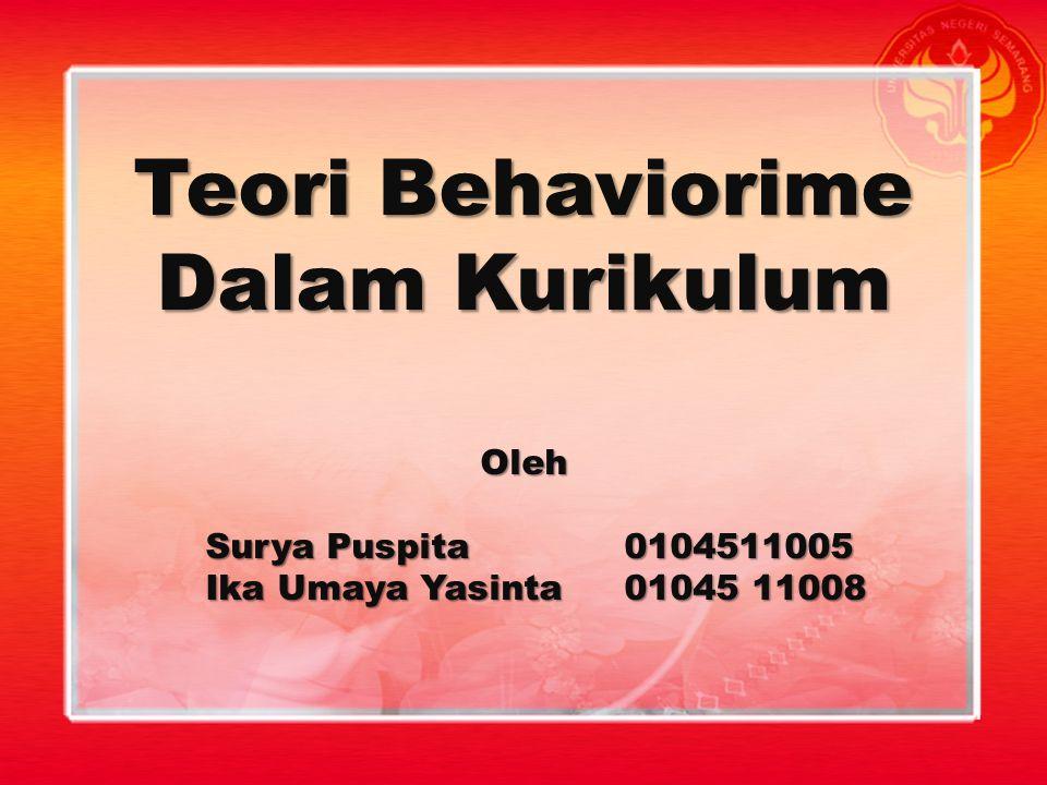 Teori Behaviorime Dalam Kurikulum Oleh Surya Puspita0104511005 Ika Umaya Yasinta01045 11008