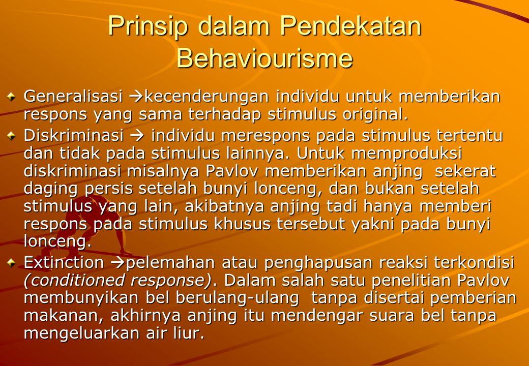Prinsip dalam Pendekatan Behaviourisme Generalisasi  kecenderungan individu untuk memberikan respons yang sama terhadap stimulus original. Diskrimina