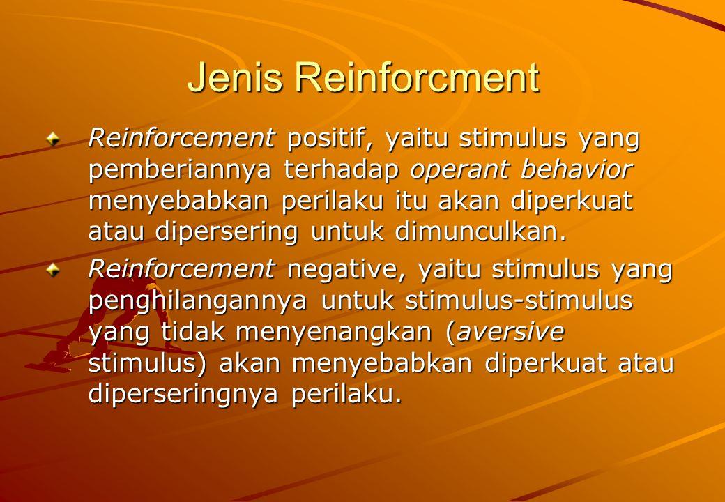 Jenis Reinforcment Reinforcement positif, yaitu stimulus yang pemberiannya terhadap operant behavior menyebabkan perilaku itu akan diperkuat atau dipe