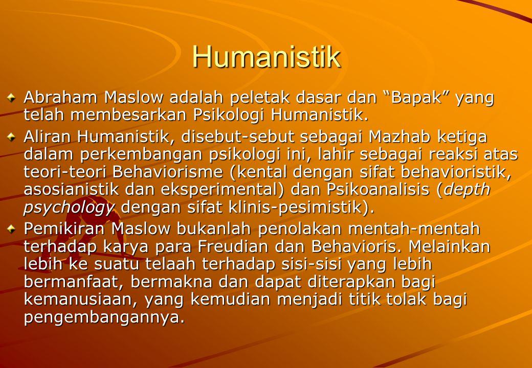 """Humanistik Abraham Maslow adalah peletak dasar dan """"Bapak"""" yang telah membesarkan Psikologi Humanistik. Aliran Humanistik, disebut-sebut sebagai Mazha"""