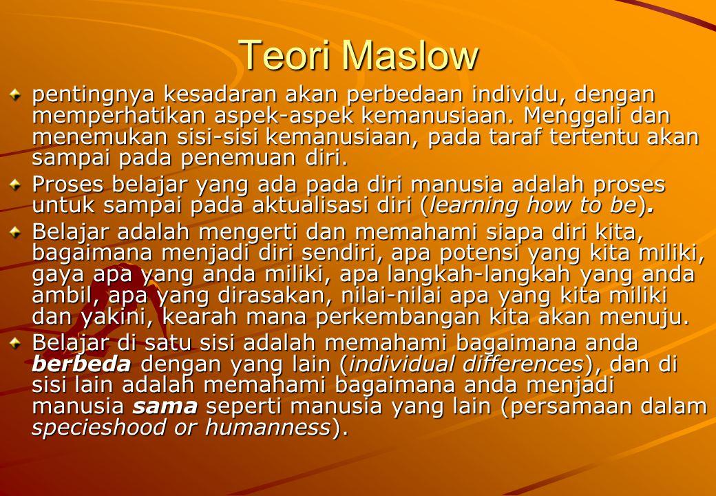 Teori Maslow pentingnya kesadaran akan perbedaan individu, dengan memperhatikan aspek-aspek kemanusiaan. Menggali dan menemukan sisi-sisi kemanusiaan,