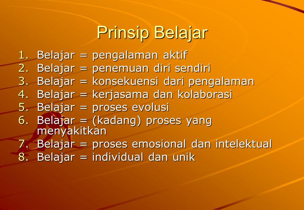 Prinsip Belajar 1.Belajar = pengalaman aktif 2.Belajar = penemuan diri sendiri 3.Belajar = konsekuensi dari pengalaman 4.Belajar = kerjasama dan kolab