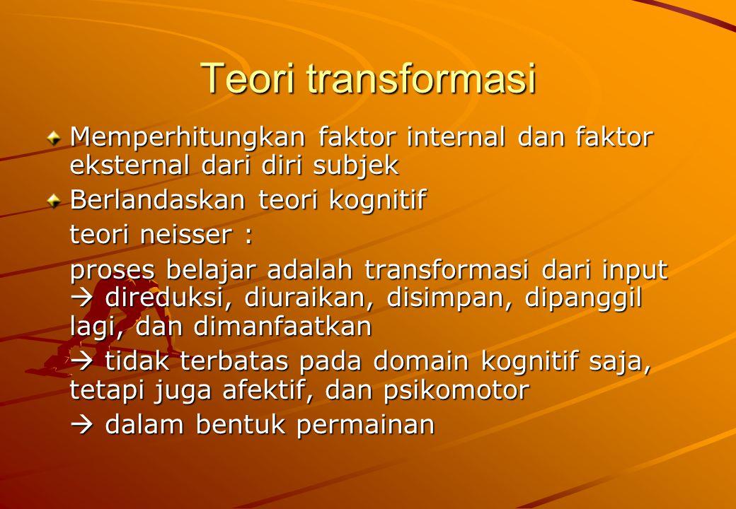 Teori transformasi Memperhitungkan faktor internal dan faktor eksternal dari diri subjek Berlandaskan teori kognitif teori neisser : proses belajar ad