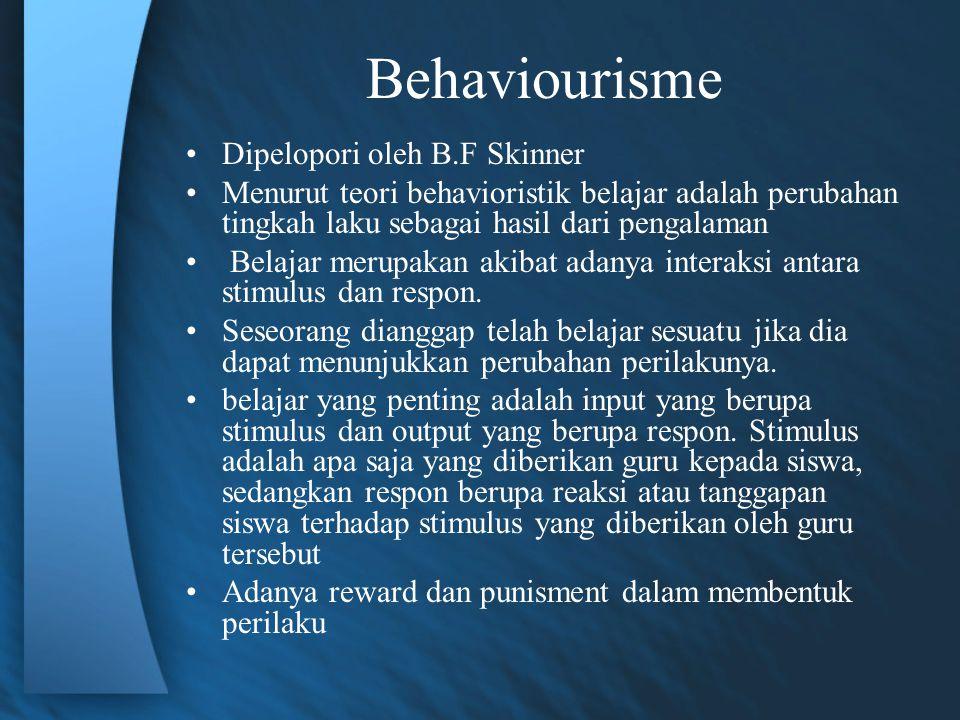 Kelemahan dan Kelebihan Teori Behavioristik a) Hanya mengakui adanya stimulus dan respon yang dapat diamati b) Kurang memberikan ruang gerak yang bebas bagi pebelajar untuk berkreasi, bereksperimentasi dan mengembangkan kemampuannya sendiri c) Pebelajar atau orang yang belajar harus dihadapkan pada aturan- aturan yang jelas dan ditetapkan terlebih dulu secara ketat d) Kontrol belajar harus dipegang oleh sistem yang berada di luar diri pebelajar Kelebihan Teori Behavioristik Sesuai untuk perolehan kemampuan yang membutuhkan praktik dan pembiasaan yang mengandung unsur-unsur seperti kecepatan, spontanitas, kelenturan, reflex.