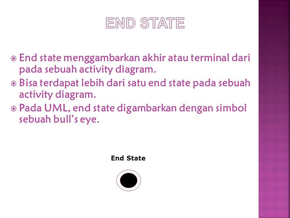  End state menggambarkan akhir atau terminal dari pada sebuah activity diagram.  Bisa terdapat lebih dari satu end state pada sebuah activity diagra