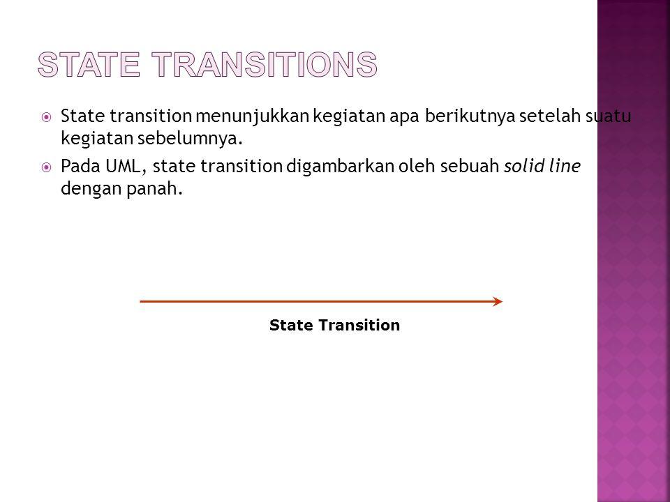  State transition menunjukkan kegiatan apa berikutnya setelah suatu kegiatan sebelumnya.  Pada UML, state transition digambarkan oleh sebuah solid l