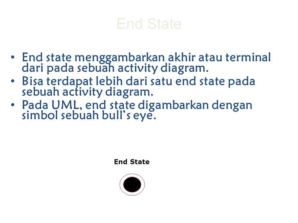 End State End state menggambarkan akhir atau terminal dari pada sebuah activity diagram. Bisa terdapat lebih dari satu end state pada sebuah activity
