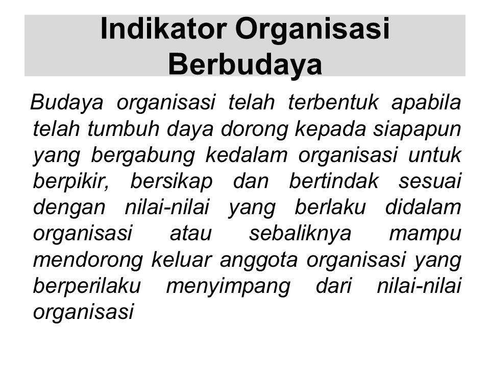 Indikator Organisasi Berbudaya Budaya organisasi telah terbentuk apabila telah tumbuh daya dorong kepada siapapun yang bergabung kedalam organisasi un