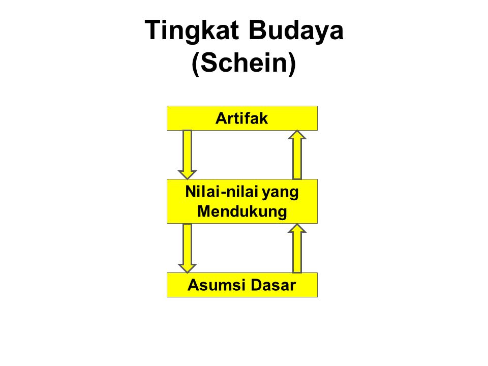 Tingkat Budaya (Schein) Artifak Nilai-nilai yang Mendukung Asumsi Dasar