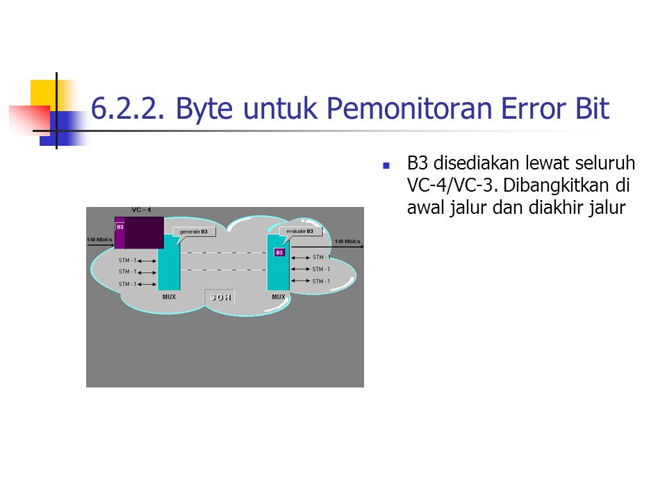 6.2.3 Konsep Pemonitoran Error Bit Kode error B1 hanya menunjuk sistem MUX/REG yang berisi kegagalan regenerator sevtion Kode error B2 hanya menunjuk sistem MUX yang berisi kegagalan multiplex section.